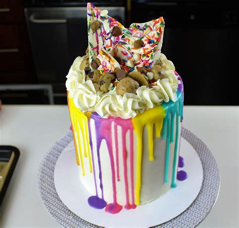 Learn how to decorate an Easy Colorful Drip Cake with