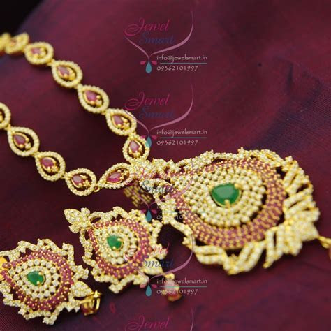 NL1228 Ruby Emerald Haram Long Necklace Indian Traditional