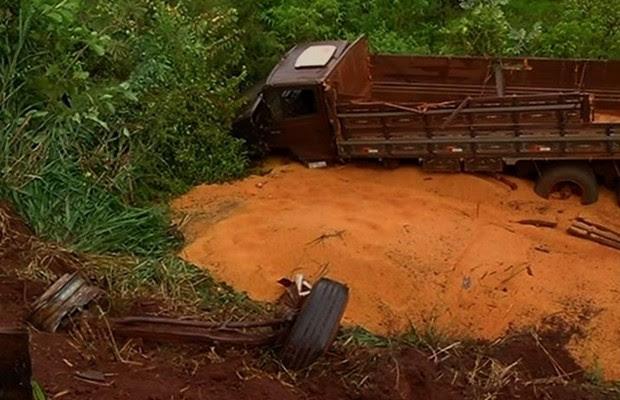 Batida entre carro e caminhão mata três pessoas na BR-452, em Itumbiara, Goiás (Foto: Reprodução/TV Anhanguera)