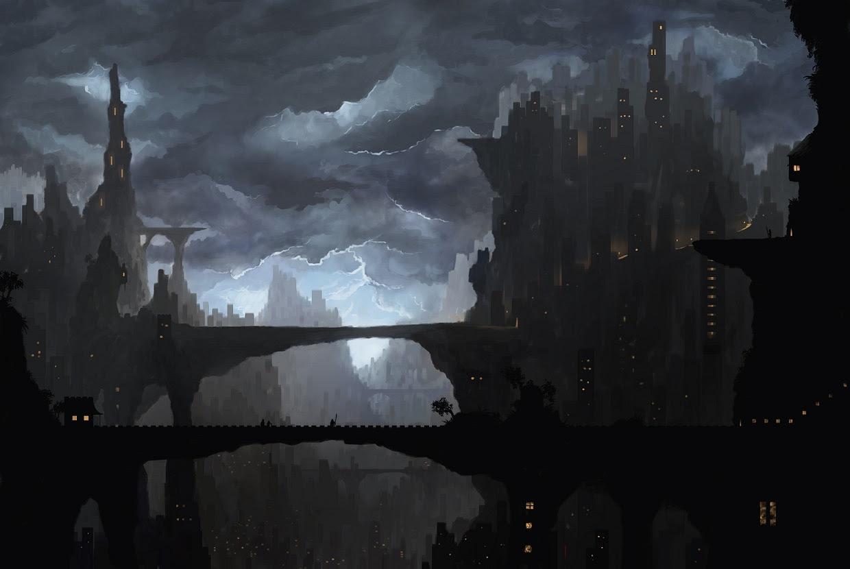 My Painting Of A Dark City Fantasy
