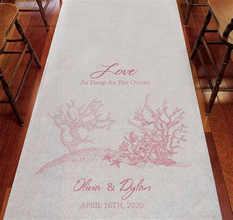 Reef Coral Personalized Aisle Runner   Beach Aisle Runner