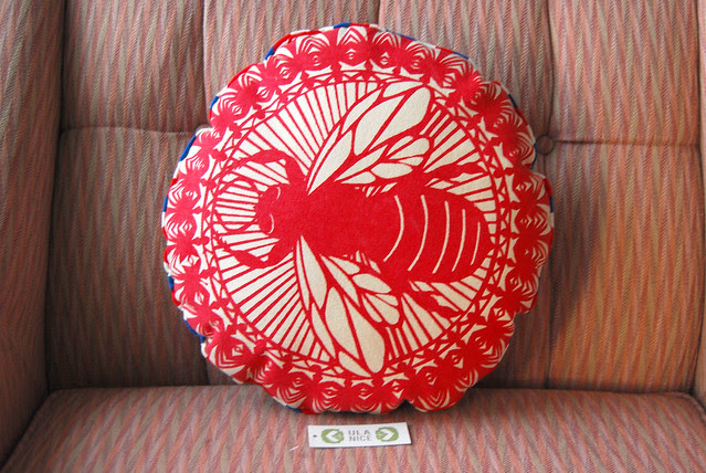 Red Round Bee Pillow