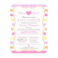 Pastel Stripes (pink) Baby Shower Card