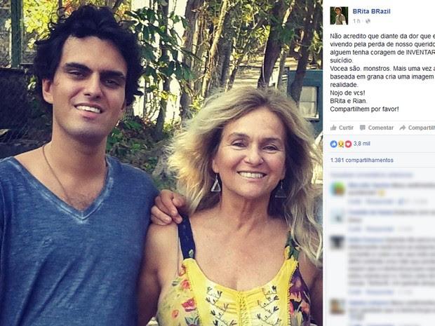 Mãe fez críticas à imprensa e falou da dor da perda do filho (Foto: Reprodução / Facebook)