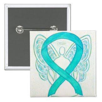 Teal Green Angel Awareness Ribbon Custom Art Pins