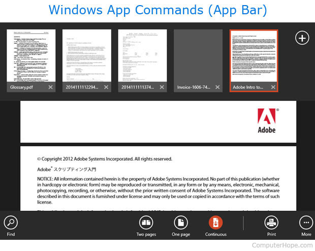 App commands in Windows 8