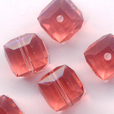 27756011224542 Swarovski Bead - 6 mm Faceted Cube (5601) - Padparadscha (1)