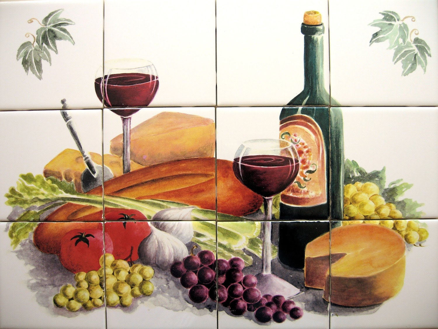 Ceramic Tile Wine and Cheese Mural