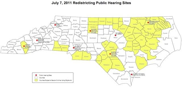 Locations of public hearings on redistricting in North Carolina today