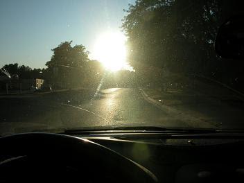 sun glare view from car
