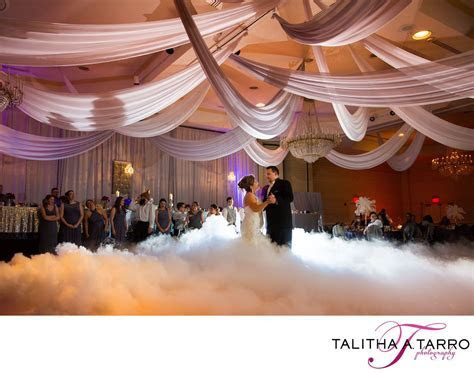 Dancing on clouds. Fog Machine at Wedding Reception. Fog