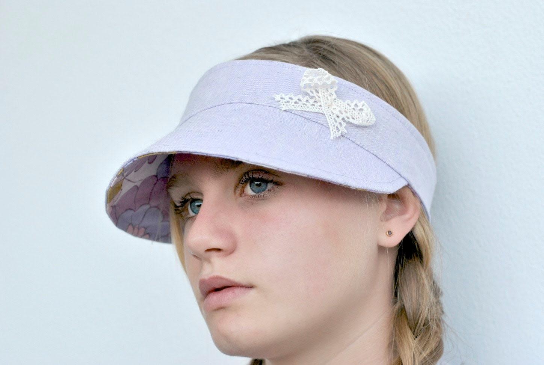 Free Shipping in Australia- Pastel lavender linen and vintage retro fabric reversible Visor.