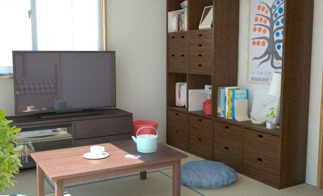 3畳寝室+4.5畳の和室2DKを一人暮らし用にベッドなども ...
