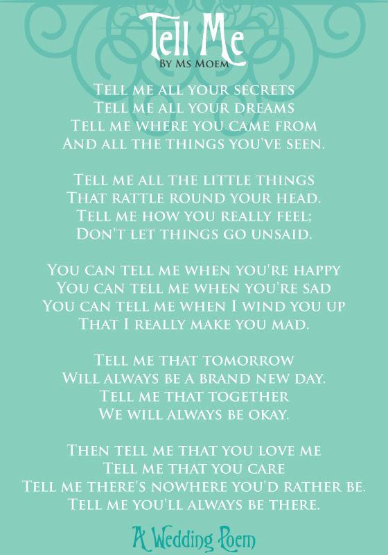Tell Me A Wedding Poem