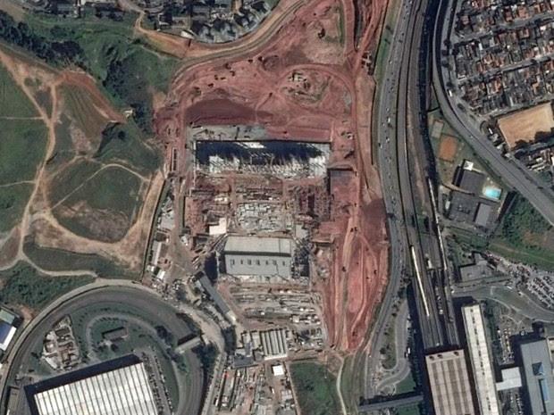 Itaquerão, em São Paulo, em foto feita em 3 de julho de 2012 (Foto: Google Earth)