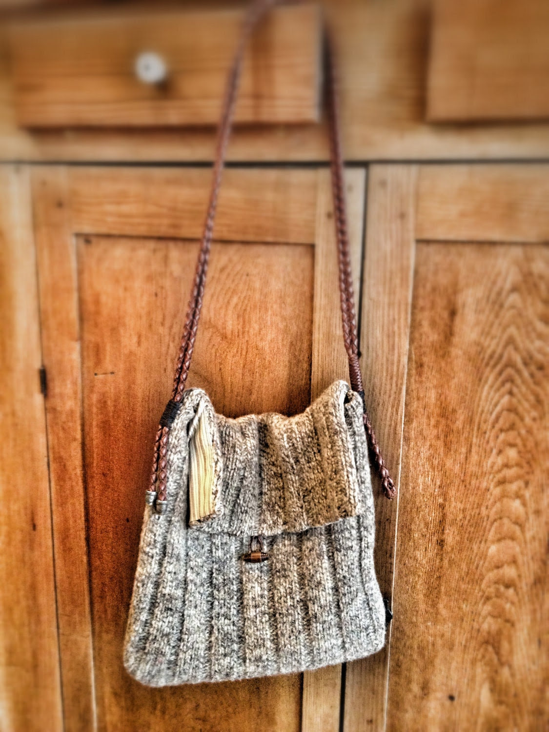 Upcycled Handmade Wool Leather Shoulder Bag