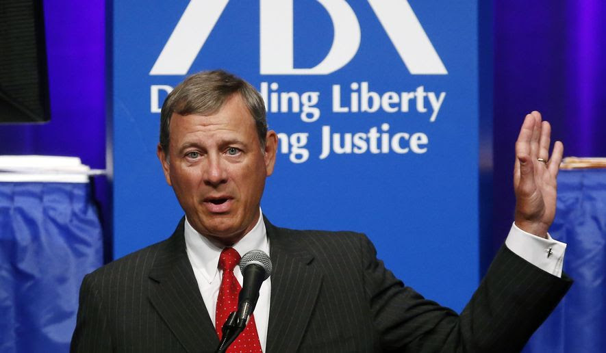 Supreme Court Chief Justice John Roberts is shown speaks at the American Bar Association's annual meeting in Boston, in this file photo from Monday, Aug. 11, 2014. On March 31, 2017, the Trump White House announced it was curtailing the ABA's role in evaluating the president's nominations to the federal bench. (AP Photo/Elise Amendola) **FILE**