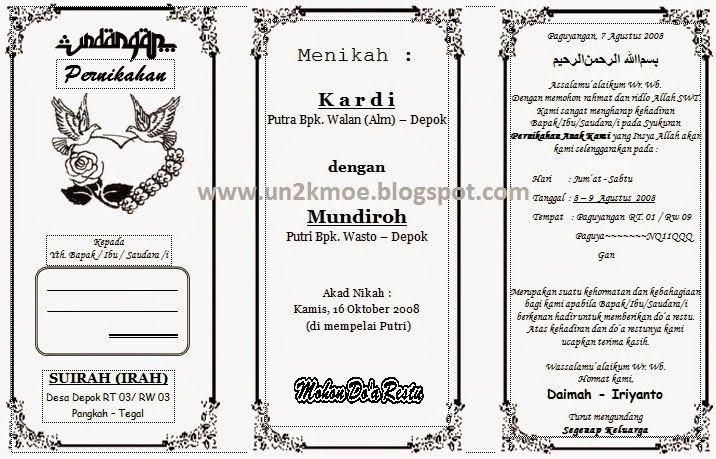 Contoh Desain Undangan Pernikahan Sederhana Cdr - Kartu ...