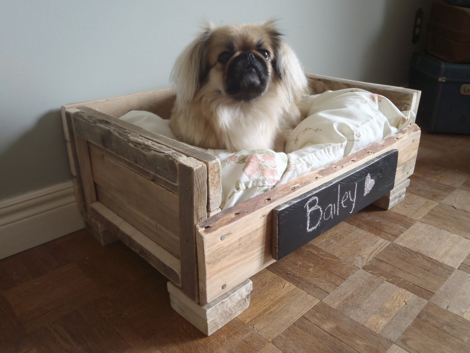 Reclaimed Wood Pet Bed - Natural and White Floral - 2 Dollars goes to LAPS animal protection