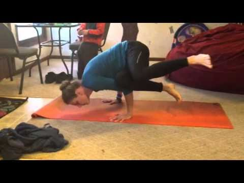 barefoot angie bee yoga side crow pose variation and