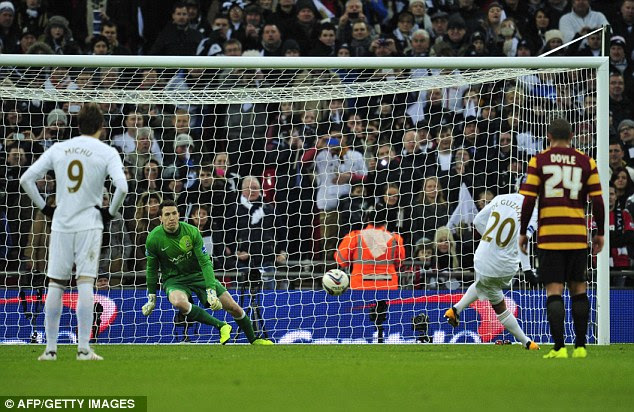 Slotted: De Guzman won the argument and tucked the penalty into the bottom corner