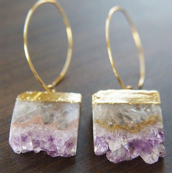 Lilac Amethyst Stalactite Druzy 14k gold Earrings OOAK