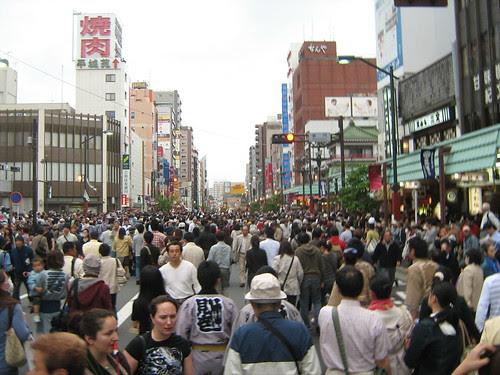 Crowd at the streets of Asakusa during Sanja Matsuri