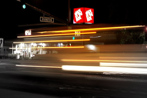 Jack In The Box At Night with Pentax FA 50 f/1.4 & Picasa Focal B&W