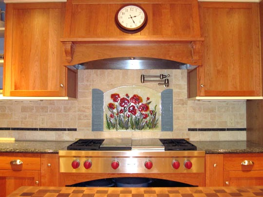 stained glass backsplash home improvement area