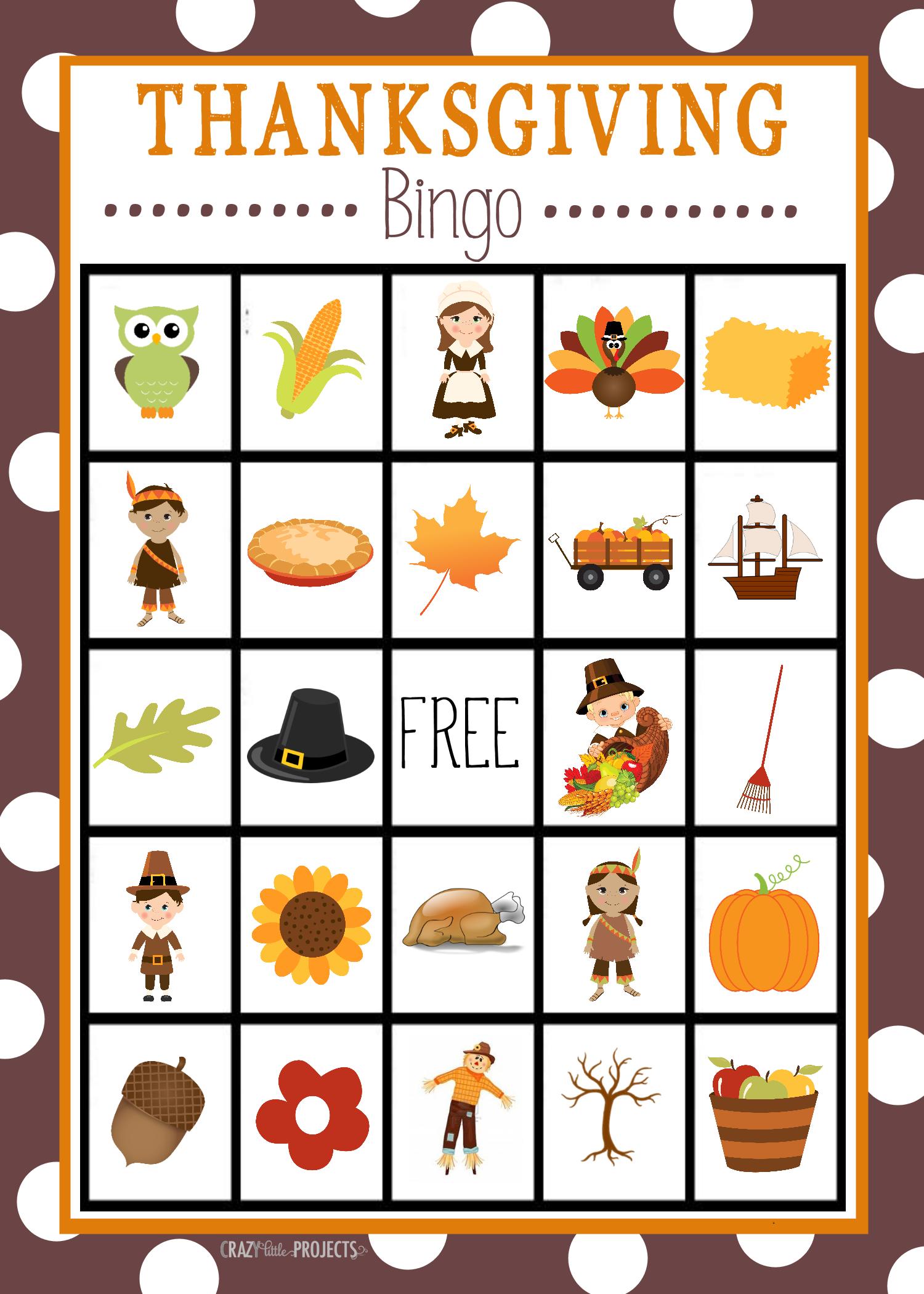 Thanksgiving Bingo Cards Printable