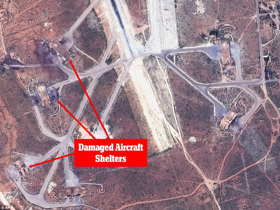 Destruction: These  images show the extent of the destruction wrought on Syria's al-Shayrat military airfield by US Tomahawk missiles on Thursday