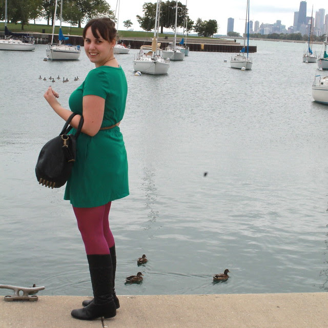 Chicago outfit: magenta tights, Corso Como quilted leather boots, kelly green jersey dress, Calf-hair leopard belt, teal velvet blazer, studded bag