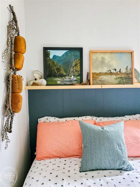 diy headboard  paint   wood shelf refresh living