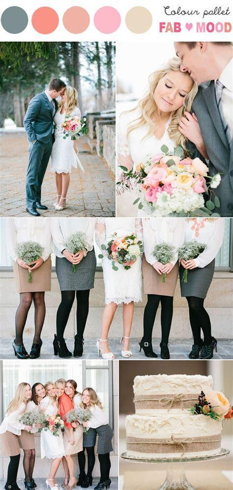 Grey peach wedding colors,Whimsical winter wedding