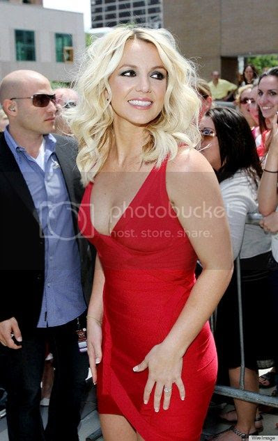 Britney Spears Red Bandage Dress at 'The X Factor' Providence, Rhode Island Auditions