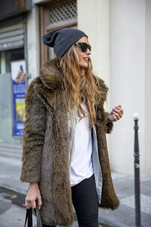 LE FASHION BLOG WINTER LAYERS STELLA WANTS TO DIE BLOGGER STYLE GREY BEANIE HAT FLAT TOP BLACK SUNGLASSES VINTAGE FUR COAT GREY CHAMBRAY DENIM BUTTON DOWN SHIRT WHITE TSHIRT WINTER INSPIRATION 1 photo LEFASHIONBLOGWINTERLAYERSSTELLAWANTSTODIE1.jpg