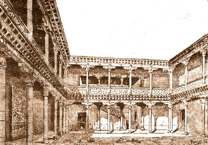 Patio del Palacio de don Antonio de Mendoza, visto por José Pascó en 1885