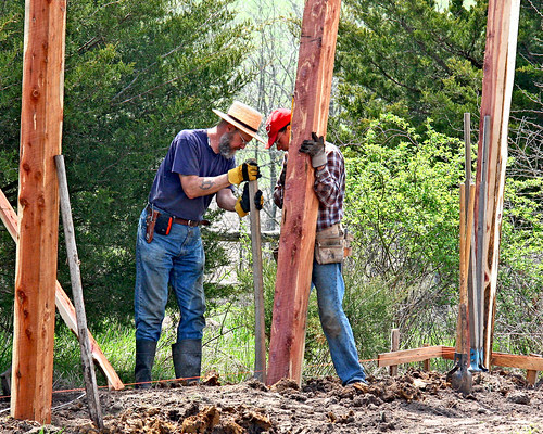 """Setting posts for Galen's """"Shop"""""""