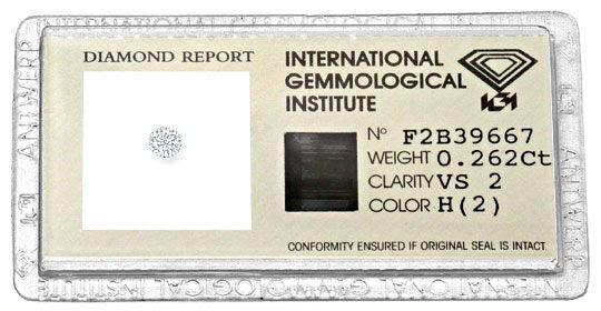 Original-Foto 1, BRILLIANT 0,262 CARAT IGI EXPERTISE WESSELTON WEISS VS2, D6170