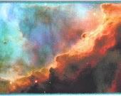 FABRIC POSTCARD Gold Blue Cyan Swan Nebula Stars Astronomy Photograph - CosmicTotes