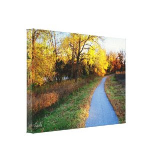 Autumn Nature Trail at Sunset Wrapped Canvas Print