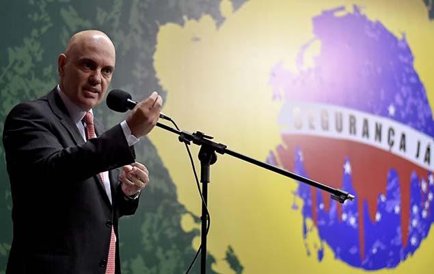 O ministro do STF Alexandre de Moraes participa de seminário sobre segurança pública na Câmara dos Deputados, em Brasília