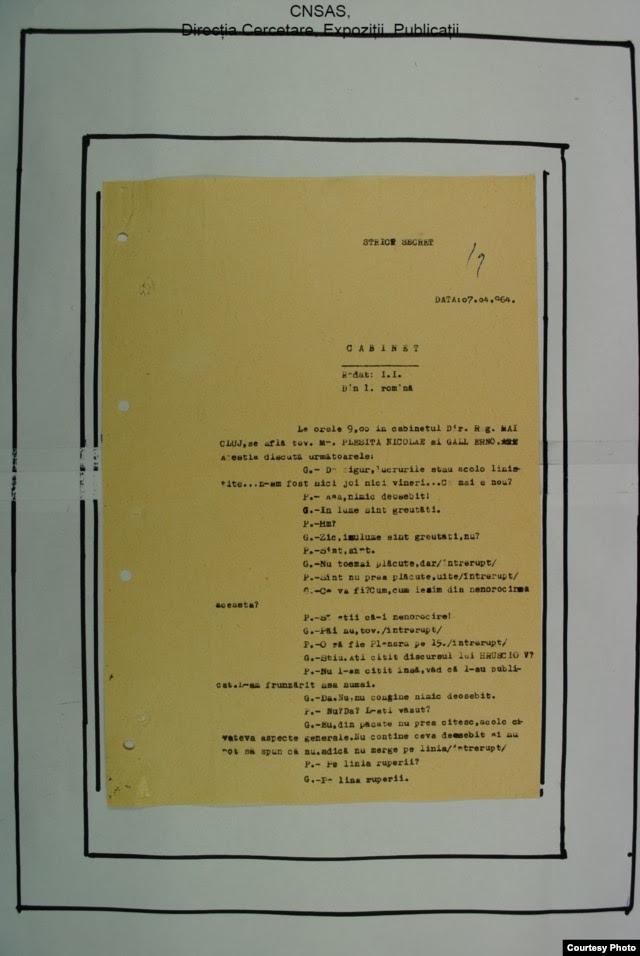 Imagine de arhivă: pagină a transcripției convorbirii telefonice Pleșiță-Gáll (Foto: ACNSAS)
