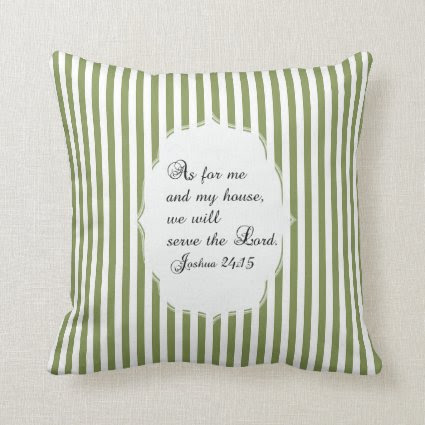 Olive Green White Joshua 24:15 Bible Verse Pillow
