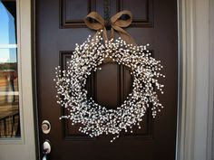 January Snowfall Winter White Berry Wreath w/Burlap Bow -january front door