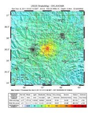 Map of shaking intensity from the magnitude 5.6 earthquake that hit Oklahoma on Nov. 6, 2011.