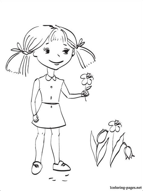 girl collects   spring flowers coloring pages