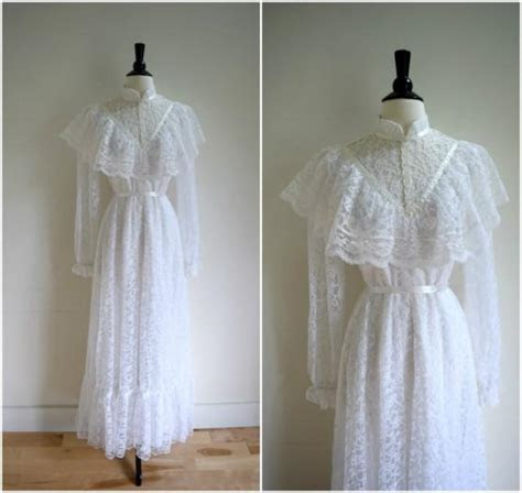 Vintage Victorian Style White Long Sleeved Wedding Gown