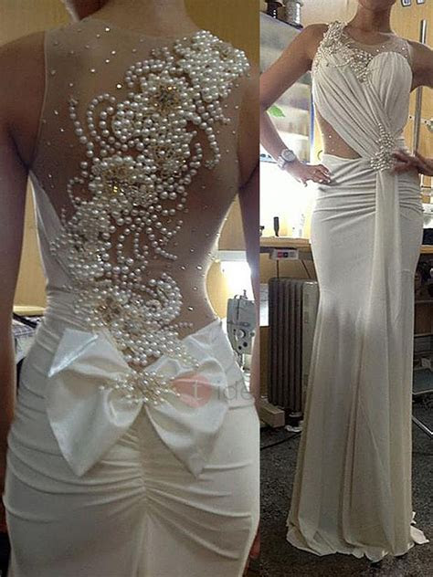 Round Neck Beaded Pearls Sheath Wedding Dress : Tidebuy.com