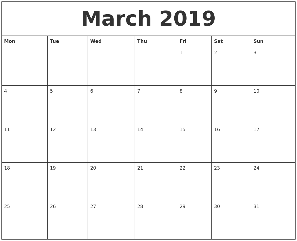 march 2019 free printable monthly calendar monday start